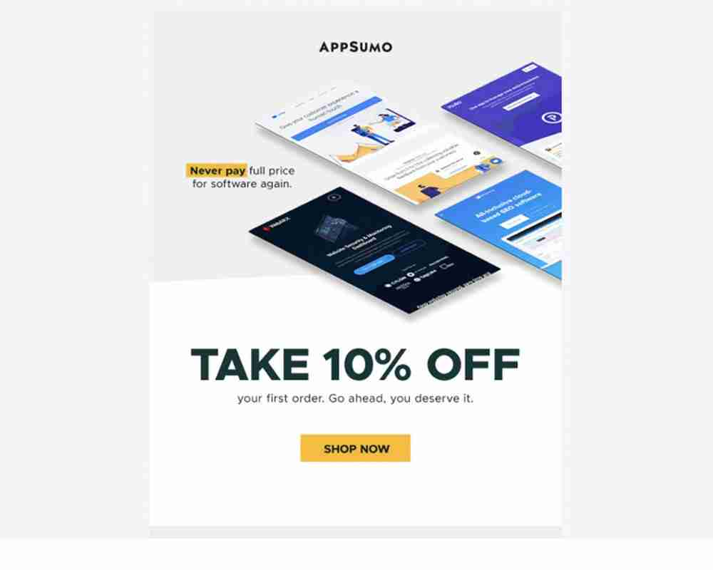 Appsumo, a deal platform for freelancers and founders, uses this to encourage the one action that makes you stick to their service the most: buy a deal with a special coupon code.