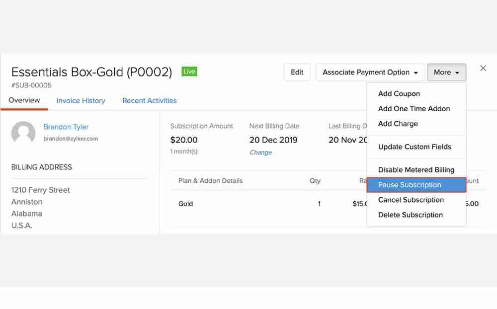 Zoho, a CRM for SMEs, lets you do that. Pause when necessary, reactivate when needed.