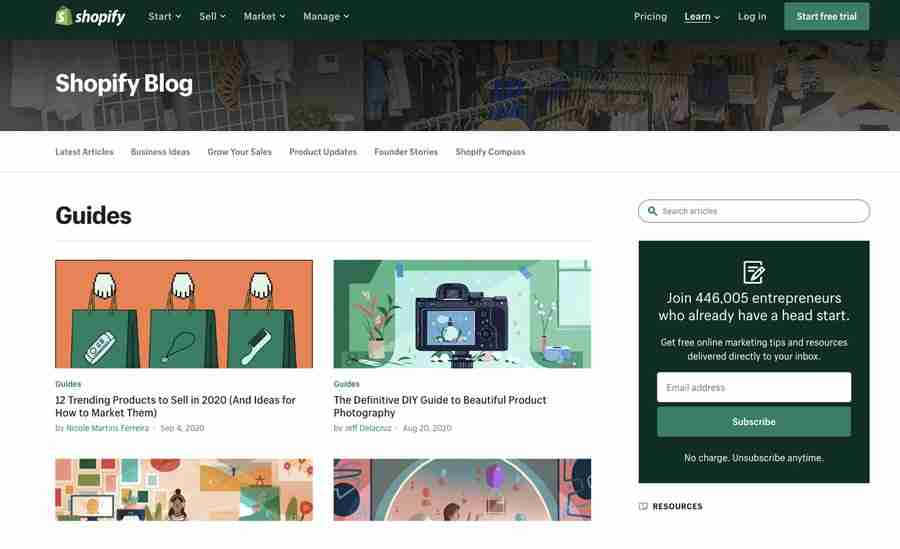 """Shopify, an ecommerce shop system, runs """"Build-A-Business-Competitions"""", a blog with interviews of successful founders, Guides on Trending products and much more."""